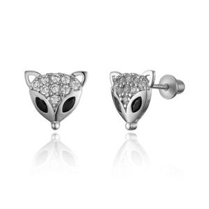 Other - Sterling Silver Rhodium Plated Fox Face Earrings